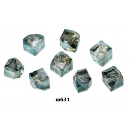 M631 Glass Irregular Faceted Bead ARMY GREEN TRANS 5mm