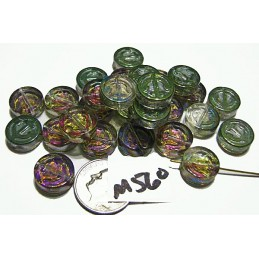 M560 Glass Flat Round Anchor Bead MULTI AB  12mm