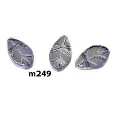 M249 Glass Flat Leaf Bead PURPLE AB TRANS 11x6mm