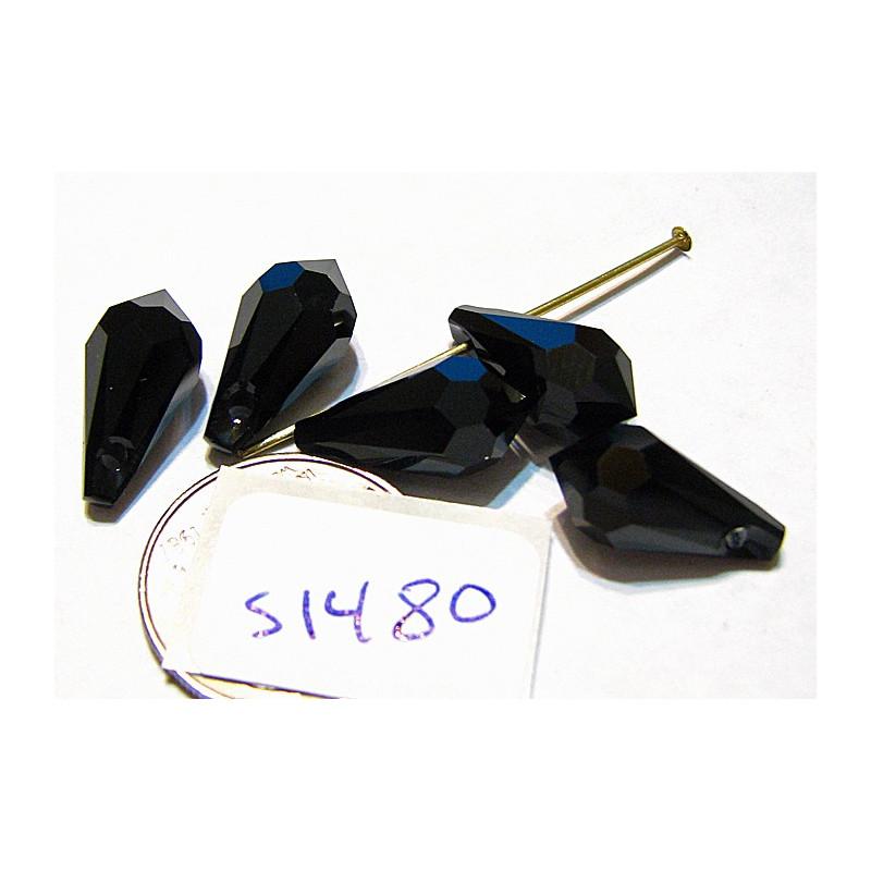 s1480 Swarovski Crystal Faceted Drop Pendant JET 15 x 7.5mm