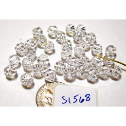 S1568 Swarovski Crystal Faceted Round 5000 Bead CRYSTAL 6mm