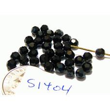 S1404 Swarovski Crystal Round Bead JET 4mm