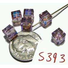 S393 Swarovski Crystal Cube 5601 LIGHT AMETHYST AB 4mm