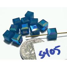 S405 Swarovski Cube 5601 CARRIBEAN BLUE OPAL AB 6mm
