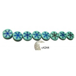 C4244  Czech Glass Laser Etched Coin Beads SNOWFLAKE on AQUA on TURQUOISE w/ IRIS BLUE  14mm