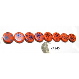 C4245  Czech Glass Laser Etched Coin Beads SNOWFLAKE on CORAL w/ IRIS BLUE  14mm