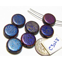 C3028  Czech Glass Laser Etched 2-Hole Coin Beads SKIN Pattern on SLIPERIT PURPLE 14mm