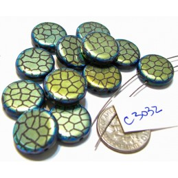 C3032  Czech Glass Laser Etched 2-Hole Coin Beads CRACKED Pattern on JET AB 14mm