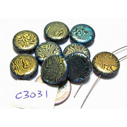 C3031  Czech Glass Laser Etched 2-Hole Coin Beads ZEBRA Pattern on JET AB 14mm