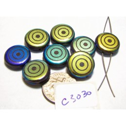 C3030  Czech Glass Laser Etched 2-Hole Coin Beads TARGET Pattern on JET AB 14mm