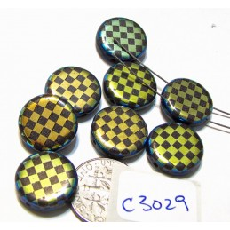 C3029  Czech Glass Laser Etched 2-Hole Coin Beads CHECKERBOARD Pattern on JET AB 14mm