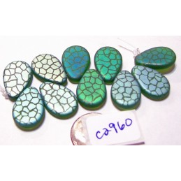 C2960  Czech Glass Laser Etched Teardrop Beads SCALES on EMERALD MATTE w/ AB FINISH 12x18mm
