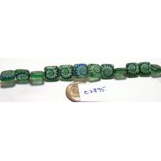 C2895  Czech Glass Laser Etched Puffed Tile Beads AMMONITE on MATTE SEA GREEN w/ IRIS BLUE FINISH 10mm