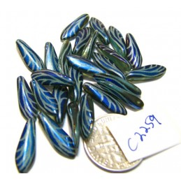 C2259 Czech Glass Laser Etched Dagger WING Pattern TURQUOISE OPAL  5x16mm