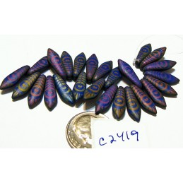 C2419 Czech Glass Laser Etched Dagger PEACOCK FEATHER Pattern ROYAL BLUE MATTE W/ RAINBOW FINISH  5x16mm