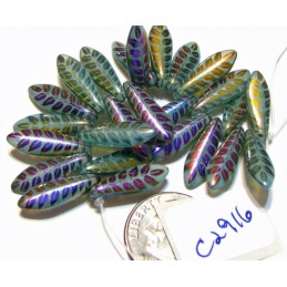C2916 Czech Glass Laser Etched Dagger LEAF Pattern GREEN TURQUOISE w/ METALLIC FINISH 5x16mm