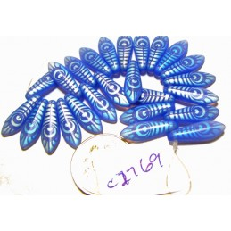 C2769 Czech Glass Laser Etched Dagger PEACOCK FEATHER Pattern BLUE OPAL MATTE  5x16mm