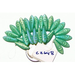C2648 Czech Glass Laser Etched Dagger PEACOCK FEATHER Pattern TURQUOISE OPAL MATTE  5x16mm