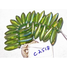 C2518 Czech Glass Laser Etched Dagger FEATHER Pattern OLIVINE AB  5x16mm