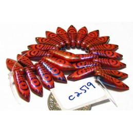 C2519 Czech Glass Laser Etched Dagger PEACOCK FEATHER Pattern OPAQUE RED w/ RAINBOW FINISH  5x16mm