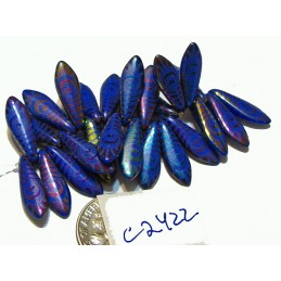 C2422 Czech Glass Laser Etched Dagger PEACOCK FEATHER Pattern ROYAL BLUE W/ RAINBOW FINISH  5x16mm