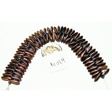 C4019 Czech Glass Dagger Beads JET HALF CAPRI  3x11mm