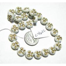 C4622 Czech Glass Moon Face Beads WHITE w/ GOLD 9mm