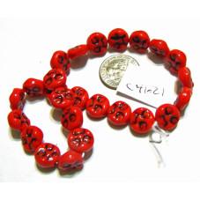 C4621 Czech Glass Moon Face Beads RED w/ BLACK 9mm