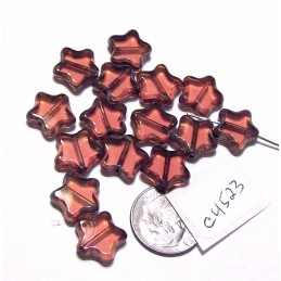C4523 Czech Glass Table Cut Star CORAL  w/ PICASSO EDGE 12mm