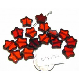 C4522 Czech Glass Table Cut Star RED MIX  w/ PICASSO EDGE 12mm