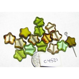 C4521 Czech Glass Table Cut Star GREEN MIX  w/ PICASSO EDGE 12mm