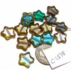 C4518 Czech Glass Table Cut Star BLUE MIX  w/ PICASSO EDGE 12mm