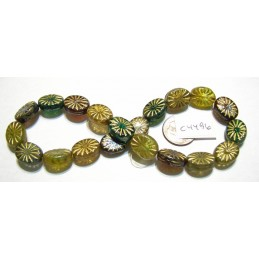 C4496 Czech Glass Bead Oval Ray COLOR MIX 14x11mm