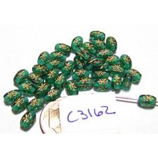 C3162 Czech Glass Rice Beads Oval w/ Gold Star TEAL 6x4mm