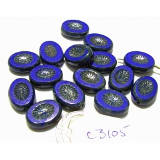 C3105 Czech Glass Table Cut Carved Oval Kiwi Starburst Bead AZURE BLUE 9x12mm