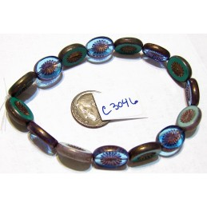 C3046 Czech Glass Bead Carved Oval Kiwi Starburst BLUE / GREEN MIX  14x10mm