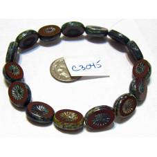 C3045 Czech Glass Bead Carved Oval Kiwi Starburst OPAQUE BROWN w/ PICASSO 14x10mm