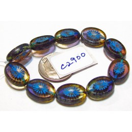 C2900 Czech Glass Bead Carved Oval Star Window BLUEBERRY MUFFIN PICASSO 14x10mm