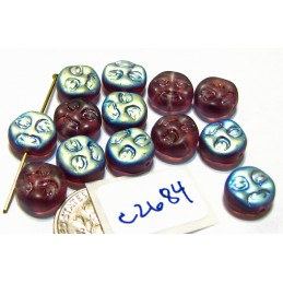 C2684 Czech Glass Moon Face Beads FROSTED AMETHYST AB 9mm