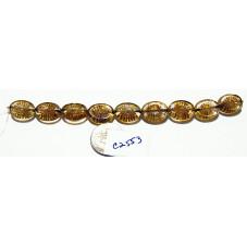 C2553 Czech Glass Carved Oval Kiwi Starburst Bead CRYSTAL PICASSO 14x10mm