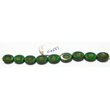 C2551 Czech Glass Carved Oval Kiwi Starburst Bead GREEN PICASSO 14x10mm