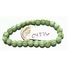 C4376 Czech Glass Melon Bead MINT w/ GOLD WASH 5mm