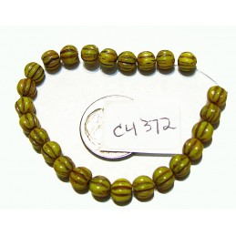 C4372 Czech Glass Melon Bead YELLOW GOLD w/ BROWN WASH 5mm