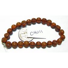 C4011 Czech Glass Melon Bead ALLOY ORANGE w/ BROWN WASH 6mm