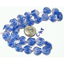 C928 Czech Glass Spiral BLUE PINK 12mm