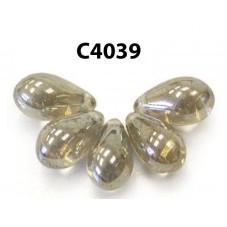 C4039 Czech Glass Teardrop Beads BLACK DIAMOND SHIMMER  6x9mm