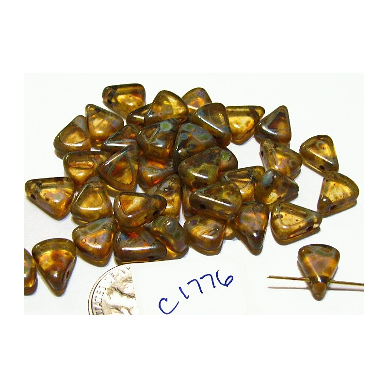 C1776 Czech Glass Flat Triangle CLEAR PICASSO LUSTER 8X10mm