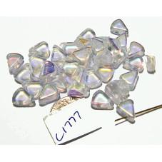 C1777 Czech Glass Flat Triangle CLEAR AB 8X10mm
