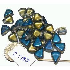 C1780 Czech Glass Flat Triangle CLEAR W/ BLUE COATING 8X10mm