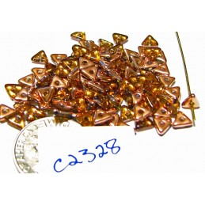 C2328 Czech Glass Tri Beads TOPAZ CAPRI GOLD 4.6x1.3mm